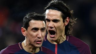 Les attaquants Edinson Cavani et Angel Di Maria lors du match face à Lille au Parc des Princes, le 9 décembre 2017. (FRANCK FIFE / AFP)