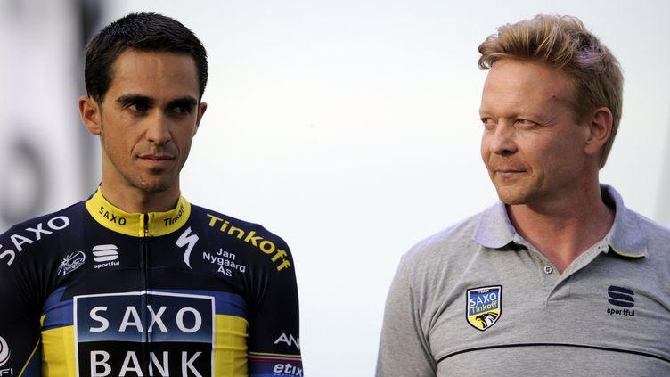 Philippe Mauduit (à droite) et Alberto Contador. (/NCY / MAXPPP)