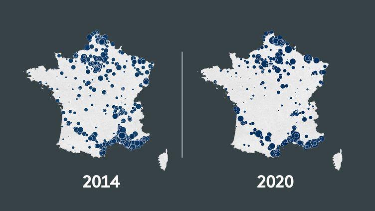 L'évolution du score du Rassemblement national au premier tour de l'élection municipale 2014 et 2020. (FRANCEINFO)