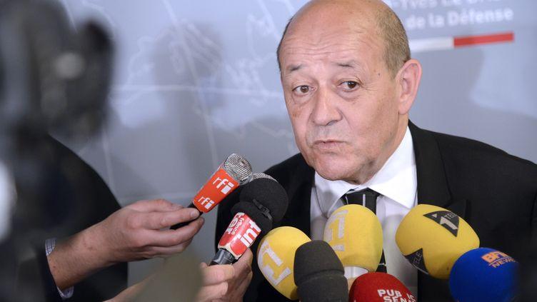 Le ministre de la Défense, Jean-Yves Le Drian, lors de la présentation du Livre blanc de la Défense, le 29 avril 2013 à Paris. (BERTRAND GUAY / AFP)