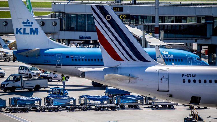 Les avions du groupe KLM-Air France à l'aéroport de Shiphol, aux Pays-Bas. (ROBIN UTRECHT / ANP/EPA)