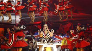 Netta Barzilai, la gagnante du concours de l'Eurovision 2018, le 14 mai 2019 à Tel Aviv (Israël),lors de la première demi-finale. (JACK GUEZ / AFP)