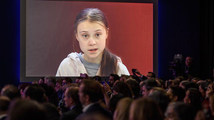 Greta Thunberg, lors d'une intervention au Forum économique mondial,le 21 janvier 2020, à Davos (Suisse). (FABRICE COFFRINI / AFP)