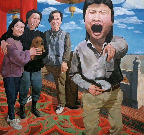 "Yue Minjun, ""On the Rostrum of Tiananmen"", 1992. Huile sur toile. Collection Herman Iskandar, Jakarta. ( YUE MINJUN PHOTO COURTESY YUE MINJUN STUDIO)"