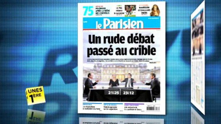 """La une du journal """"Le Parisien"""" du 3 mai 2012 présentée dans la revue de presse de La 1ère. (FTVI / LA 1ERE)"""