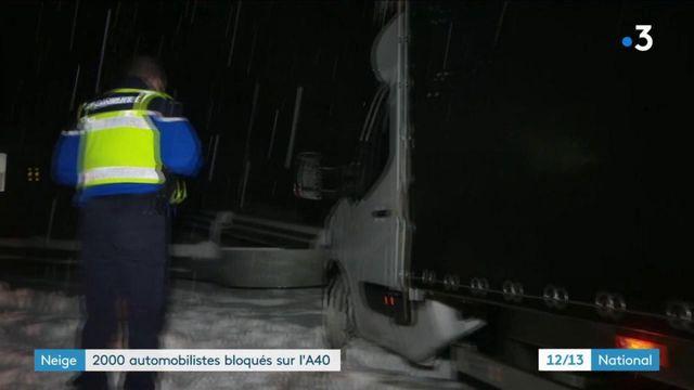 Ain : 2 000 automobilistes bloqués sur l'A40 à cause de la neige