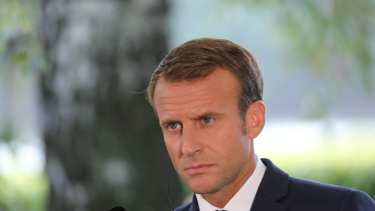 Le président de la République Emmanuel Macron, le 30 août 2018, lors d'une visite officielle en Finlande. (LUDOVIC MARIN / AFP)