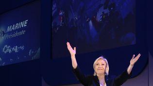 Marine Le Pen après l'annonce des résultats du premier tour de l'élection présidentielle, à Hénin-Beaumont (Pas-de-Calais), le 23 avril 2017. (JOEL SAGET / AFP)