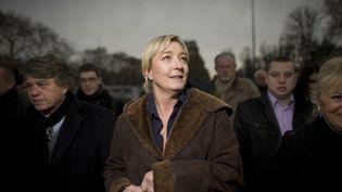 Marine Le Pen et Gilbert Collard, président de son comité de soutien (FRED DUFOUR / AFP)