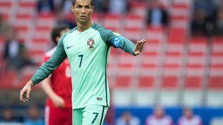 Christiano Ronaldo lors d'un match entre la Russie et le Portugal, le 21 juin 2017, à Moscou. (MARIUS BECKER / DPA / AFP)