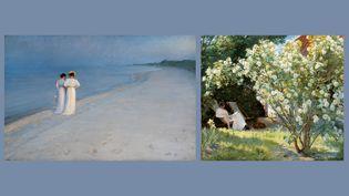 """Peder Severin Krøyer : à droite, """"Roses"""", 1893, Skagen, Skagen Kunstmuseer - à gauche, """"Après-midi d'été sur la plage sud de Skagen. Anna Ancher et Marie Krøyer marchant"""", 1893, Skagen, Skagen Kunstmuseer (A gauche et à droite © Art Museums of Skagen)"""