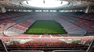 La Ferenc Puskas Arena de Budapest et ses 68 000 places, où aura lieu Hongrie - Portugal, mardi 15 juin, avec une jauge pleine, une première depuis mars 2020 et le début de la pandémie du Covid-19. (ATTILA KISBENEDEK / AFP)
