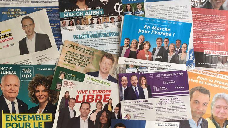 Les professions de foi des candidats pour les élections européennes 2019. (THOMAS PONTILLON / FRANCE-INFO)