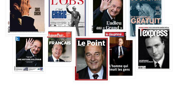 Les Unes de la presse française, au lendemain de la mort de Jacques Chirac, le 26 septembre 2019. (FRANCEINFO)
