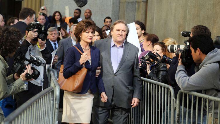 """Une scène du film """"Welcome to New York"""" tournée avec Jacqueline Bisset etGérard Depardieu, le 3 mai 2013 à New York. (SIEGEL JEFFERSON / SIPA)"""