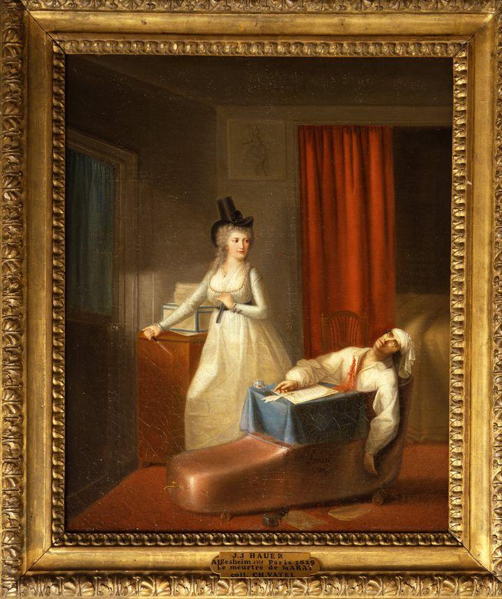 Jean-Jacques Hauer - La Mort de Marat Huile sur toile, fin du XVIIIe siècle Ville de Versailles, musée Lambinet -Inv. 903  (Ville de Versailles, musée Lambinet)