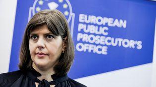 La cheffe du parquet européen,Laura Kövesi, le 1er juin 2021 à Luxembourg, lors d'une conférence de presse. (KENZO TRIBOUILLARD / AFP)