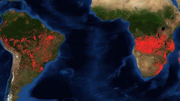 Capture d'écran de la carte interactive des feux de la Nasa, faite le 26 août 2019. (CAPTURE D'ÉCRAN)