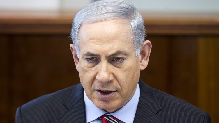 Le Premier ministre israélien, BenyaminNetanyahu, lors d'un Conseil des ministres, le 30 mars 2014, à Jérusalem (Israël). (BAZ RATNER / POOL)