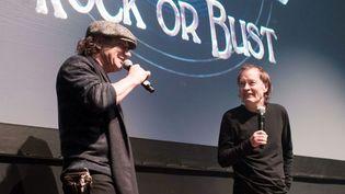 Brian Johnson et Angus Young, d'AC/DC, en promotion à New York (18 novembre 2014)  (Madison McGaw / BFAnyc / Sipa)