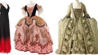 Costume Dior porté par Isabelle Huppert dans Un Tramway de K. Warlokowski, Théâtre de l'Odéon, 2011. (à gauche), Costume de Georges Wakhévitch pour le rôle d'Emilie dans Les Indes galantes de J-P. Rameau, Opéra national de Paris, 1952. (au centre), et Robe de cour en soie à la française, Lyon, vers 1750 ( à droite)  (CNCS / Florent Giffard + Lyon, MTMAD – Pierre Verrier)
