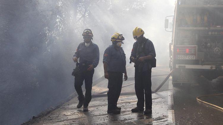 Les pompiers espagnols à Tarrades, au nord de l'Espagne dans la province de Girone le 23 juillet 2012. La Catalogne brûle sous plusieurs départs de feux d forêts (STRINGER SPAIN / REUTERS)
