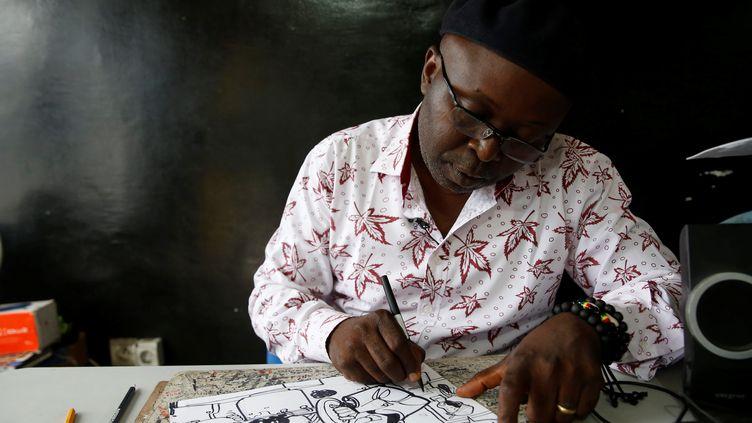 Kash esquisse un portrait de Corneille Nangaa, le président de la Commission électorale nationale indépendante de RDC. (BAZ RATNER / REUTERS)