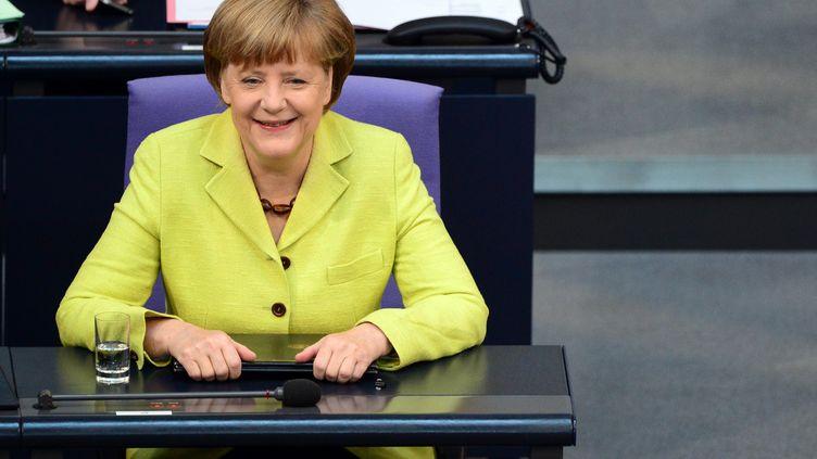 La chancelière allemandeAngela Merkel, le 21 mai 2015, au Bundestag à Berlin. (JOHN MACDOUGALL / AFP)