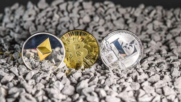 Les cryptomonnaies : ethereum, bitcoin et litecoin. Photo d'illustration. (JEAN-LUC FLEMAL / MAXPPP)