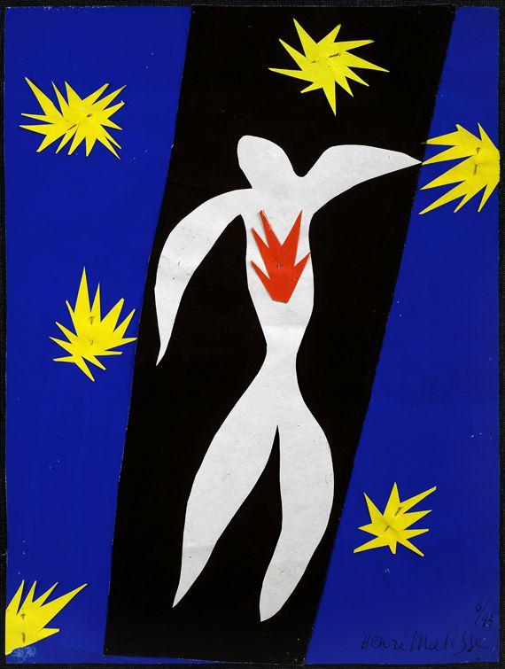 """Henri Matisse, """"La Chute d'Icare"""", 1943. Papiers gouachés, découpés et collés sur papier. 36 x 26,5 cm. Collection particulière. (SUCCESSION H. MATISSE 2013 / MUSÉE DÉPARTEMENTAL MATISSE, LE CATEAU-CSIS, ALBERTO RICCI)"""