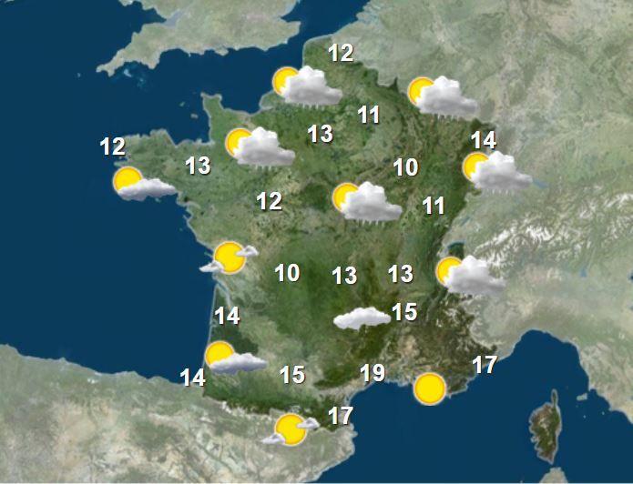 La carte météo pour la matinée du 19 mai 2021. (FRANCEINFO)