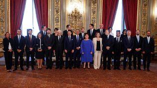 Le président de la République, Sergio Mattarella, et le Premier ministre, Giuseppe Conte, assistent à la cérémonie de prestation de serment du nouveau gouvernement italien, le 5 septembre 2019 à Rome. (RICCARDO DE LUCA / ANADOLU AGENCY / AFP)