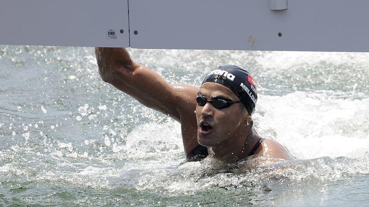 Le Tunisien Oussama Mellouli à l'arrivée du 10km en eau libre