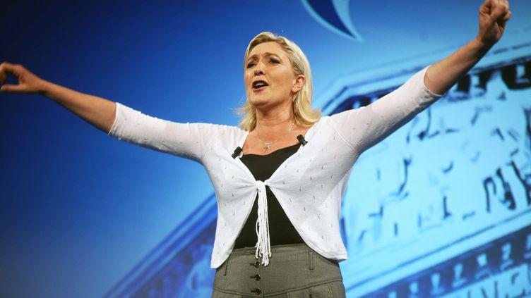 La présidente du Front national, le 1er juin 2012, lors d'un meeting à Paris. (YAGHOBZADEH RAFAEL / SIPA)