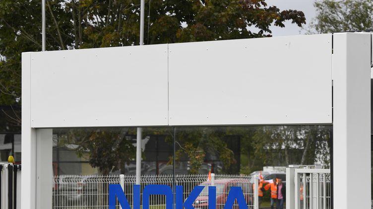 L'entrée du site Nokia à Lannion, (photo d'illustration, 07 septembre 2017). (DAMIEN MEYER / AFP)