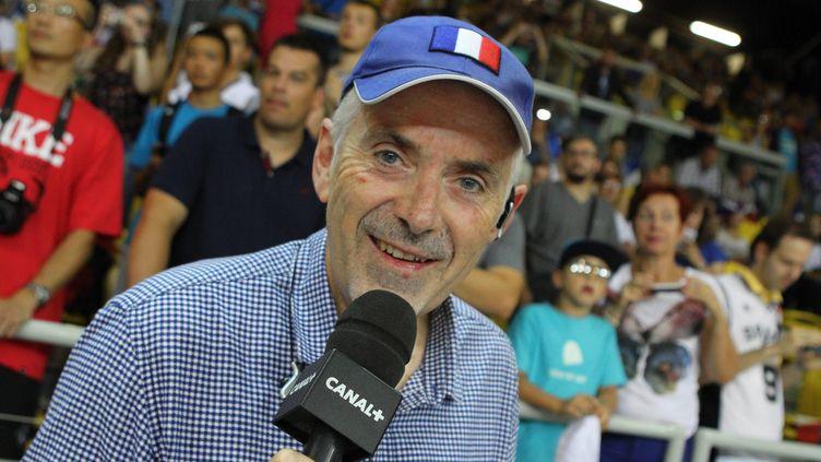 George Eddy, commentateur, lors du match de basket entre la France et l'Allemagne, le 28 août 2015. (MAXPPP)