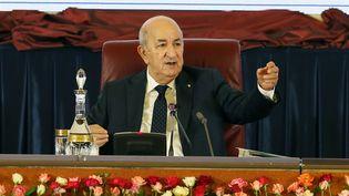 Le président algérien Abdelmadjid Tebboune, à Alger, le 25 septembre 2021. (BILLAL BENSALEM / NURPHOTO / AFP)