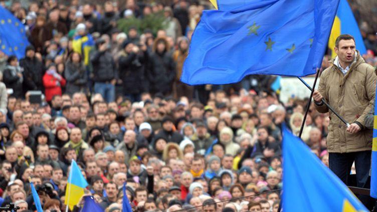 Vitali Klitschko en leader de la manifestation anti-gouvernementale (SERGEI SUPINSKY / AFP)