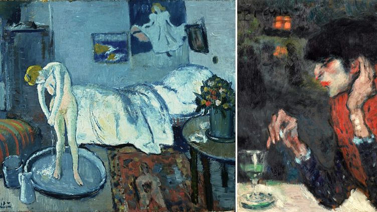 "Pablo Picasso : à gauche, ""La Chambre bleue"", Washington, Phillips Collection - A droite, ""La Buveuse d'absinthe"", 1901, Paris, collection particulière, en dépôt au musée d'Orsay, service presse Musée d'Orsay  (A gauche © Photo The Phillips Collection, Washington, D.C. © Succession Picasso 2018 - A droite © Musée d'Orsay, Dist. RMN-Grand Palais / Patrice Schmidt © Succession Picasso 2018)"