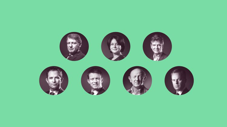 Les sept candidats à la primaire de la gauche, Vincent Peillon, Sylvia Pinel, Arnaud Montebourg, Benoît Hamon, Manuel Valls, Jean-Luc Bennahmias et François de Rugy, s'affrontent pour la première fois, jeudi 12 janvier. (ANSELME CALABRESE / FRANCEINFO)
