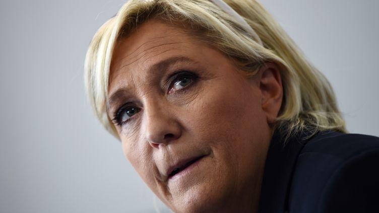 La présidente du Front national Marine Le Pen, le 8 octobre 2017. (ANNE-CHRISTINE POUJOULAT / AFP)