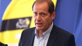 Le directeur du Tour de France Christian Prudhomme lors d'une conférence de presse sur le protocole sanitaire, à Nice (Alpes-Maritimes), le 19 août 2020. (VALERY HACHE / AFP)