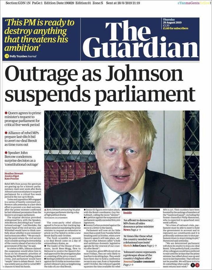 La une du Guardian, le 29 août 2019. (THE GUARDIAN)