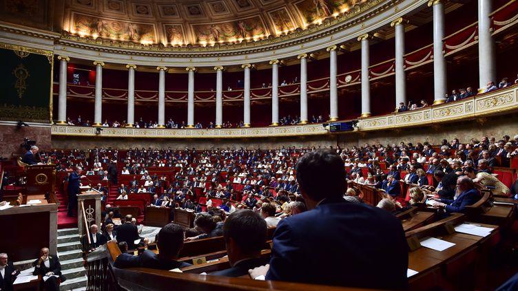 L'hémicycle de l'Assemblée nationale le 4 juillet 2017 à Paris. (CHRISTOPHE ARCHAMBAULT / AFP)