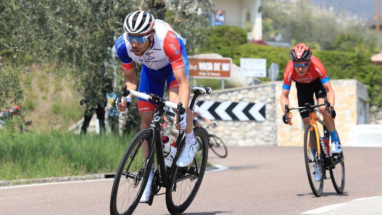 Thibaut Pinot ne s'était pas fait plaisir lors de sa dernière course, le 23 avril 2021 sur le Tour des Alpes. (PIERRE TEYSSOT / MAXPPP)