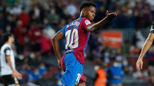 Ansu Fati célèbre après son but avec le FC Barcelone contre Valence en Liga le 17 octobre 2021. (DAX IMAGES / NURPHOTO)