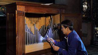 Itaru Sekiguchi, facteur d'orgue, travaillant sur l'orgue de la Cathédrale Notre-Dame de Paris (MANUEL COHEN / MANUEL COHEN)