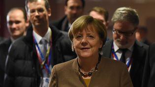 Angela Merkel, le 19 février 2016 à Bruxelles. (EMMANUEL DUNAND / AFP)