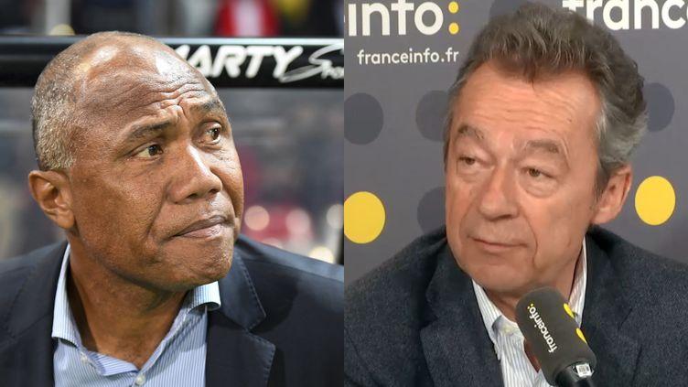 Antoine Kombouaré, entraîneur de Guingamp et Michel Denisot, ancien président du PSG. (DAMIEN MEYER AFP / RADIO FRANCE)