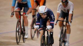 Benjamin Thomas lors de l'épreuve d'omnium aux championnats du monde, le 29 février 2020 à Berlin. (ODD ANDERSEN / AFP)